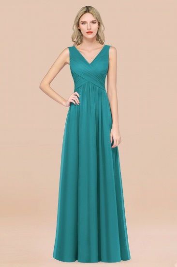 BMbridal Glamorous Chiffon V-Neck Sleeveless Burgundy Bridesmaid Dress with Draped Back_32