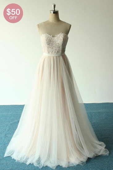 BMbridal Affordable Jewel Sleeveless A-line Wedding Dresses Tulle Lace Bridal Gowns Online