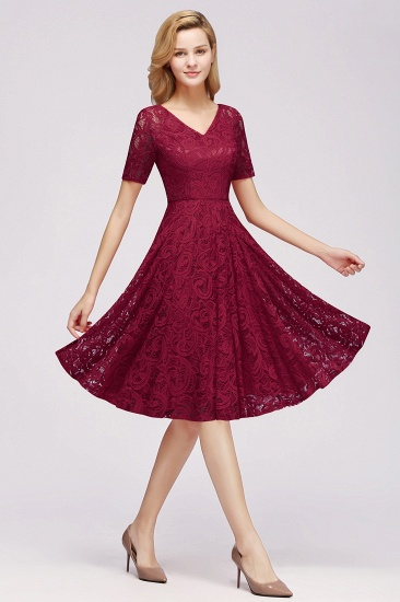BMbridal Burgundy Lace Short Sleeve Homecoming Dress Mini Party Dress On Sale_9