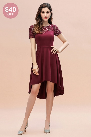 Lovely Jewel Satin Sequins Bridesmaid Dress Short Sleeve Burgundy Cocktail Dress