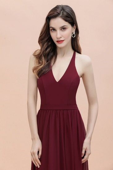BMbridal A-Line Lace Burgundy Bridesmaid Dress Lace Sequins Sleeveless Evening Dress_9