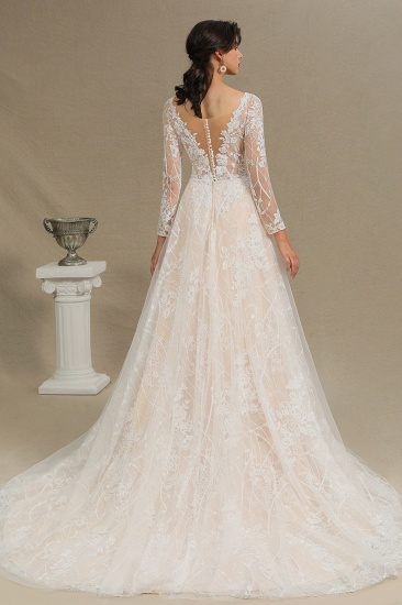 BMbridal Long Sleeves Lace Wedding Dress Online_12