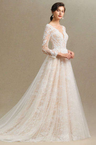 BMbridal Long Sleeves Lace Wedding Dress Online_8