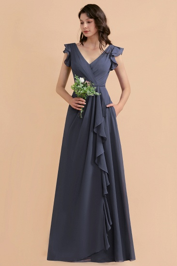BMbridal Affordable V-Neck Chiffon Ruffles Bridesmaid Dress with Pockets On Sale_4