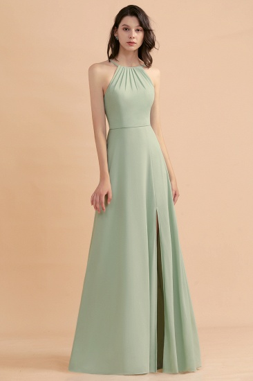 BMbridal Stylish Jewel Sleeveless Dusty Sage Chiffon Bridesmaid Dress with Ruffles