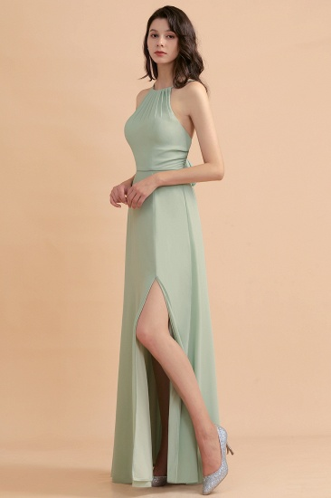 BMbridal Stylish Jewel Sleeveless Dusty Sage Chiffon Bridesmaid Dress with Ruffles_5