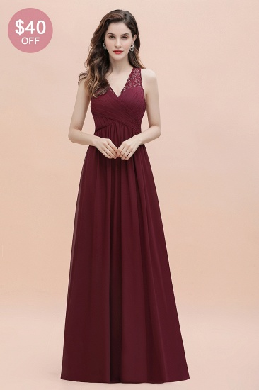 BMbridal Elegant V-Neck Lace Ruffles Bridesmaid Dress Sequins Burgundy Chiffon Evening Dress