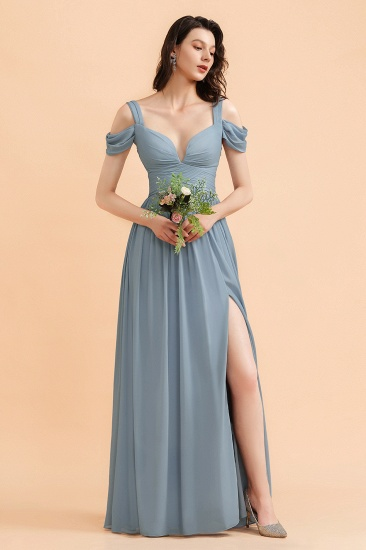 BMbridal Sexy Cold-Shoulder Dusty Blue Chiffon Bridesmaid Dress with Slit On Sale_4