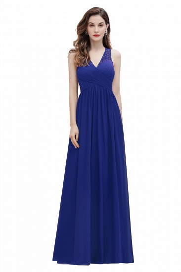 BMbridal Elegant V-Neck Lace Ruffles Bridesmaid Dress Sequins Burgundy Chiffon Evening Dress_2