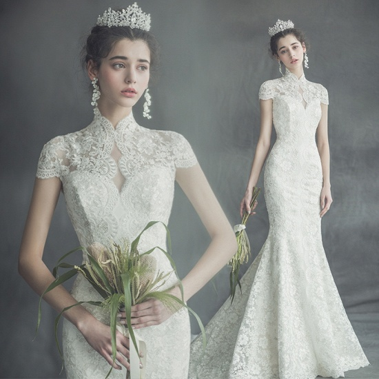 BMbridal Elegant Mermaid High-Neck Wedding Dress Luxury Lace Cap Sleeves Bridal Gowns On Sale_2