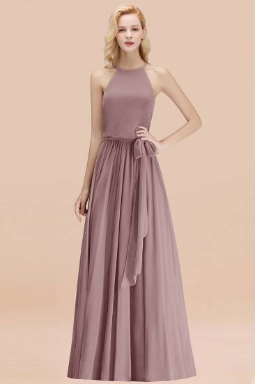 BMbridal Affordable Halter Bow Long Bridesmaid Dress Modest Burgundy Chiffon Wedding Party Dress_37