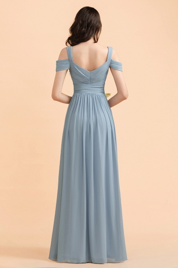 BMbridal Sexy Cold-Shoulder Dusty Blue Chiffon Bridesmaid Dress with Slit On Sale_3