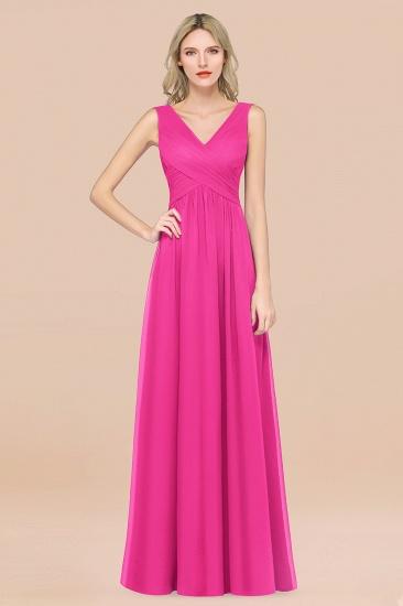 BMbridal Glamorous Chiffon V-Neck Sleeveless Burgundy Bridesmaid Dress with Draped Back_9