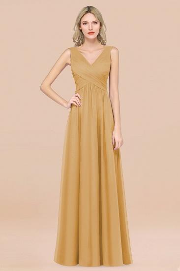 BMbridal Glamorous Chiffon V-Neck Sleeveless Burgundy Bridesmaid Dress with Draped Back_13