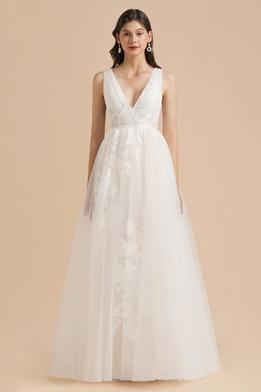 BMbridal Simple Ivory V-Neck Tulle Lace Wedding Dress Appliques Garden Bridal Gowns_3