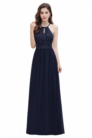 BMbridal Glamorous Halter A-line Bridesmaid Dress Chiffon Sequins Elegant Party Maxi Dress_3