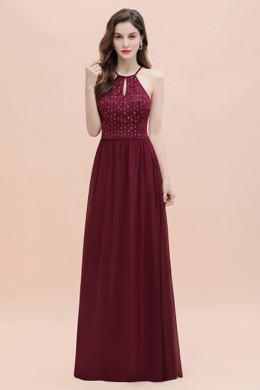BMbridal Glamorous Halter A-line Bridesmaid Dress Chiffon Sequins Elegant Party Maxi Dress_6