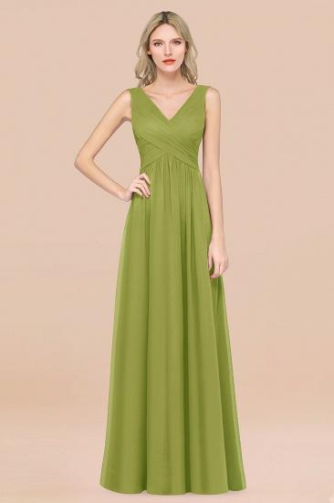 BMbridal Glamorous Chiffon V-Neck Sleeveless Burgundy Bridesmaid Dress with Draped Back_34
