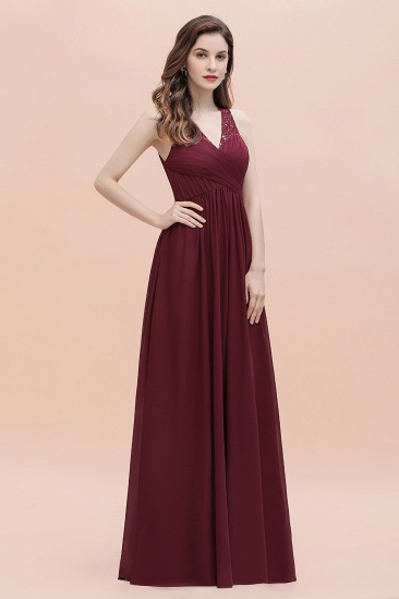 BMbridal Elegant V-Neck Lace Ruffles Bridesmaid Dress Sequins Burgundy Chiffon Evening Dress_9