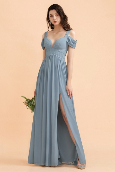BMbridal Sexy Cold-Shoulder Dusty Blue Chiffon Bridesmaid Dress with Slit On Sale_6