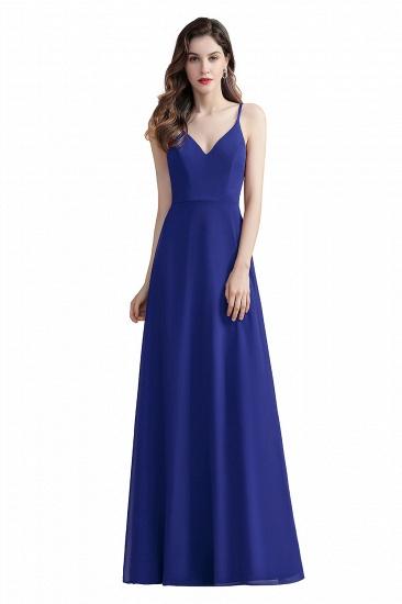 BMbridal Elegant V-Neck Burgundy Chiffon Bridesmaid Dress Lace Sequins Spaghetti Straps Evening Dress_2
