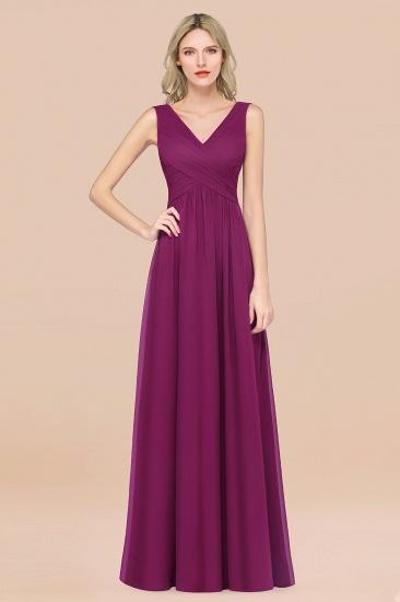 BMbridal Glamorous Chiffon V-Neck Sleeveless Burgundy Bridesmaid Dress with Draped Back_42