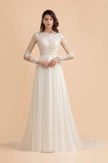 Elegant A-Line Chiffon Lace Wedding Dress Long Sleeves Jewel Ruffles Bridal Gowns On Sale_9