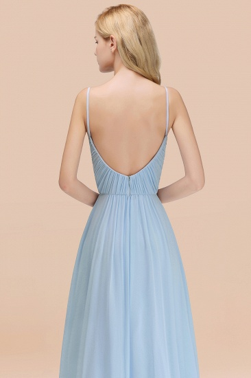 BMbridal Chic V-Neck Pleated Backless Bridesmaid Dresses with Spaghetti Straps_57