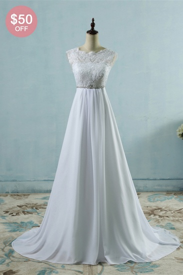 BMbridal Affordable Chiffon Jewel Lace Ruffles Wedding Dress Sleeveless Appliques Bridal Gowns with Beading Sash_2