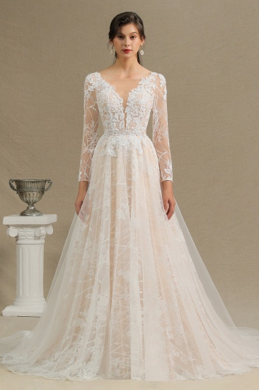 BMbridal Long Sleeves Lace Wedding Dress Online_2