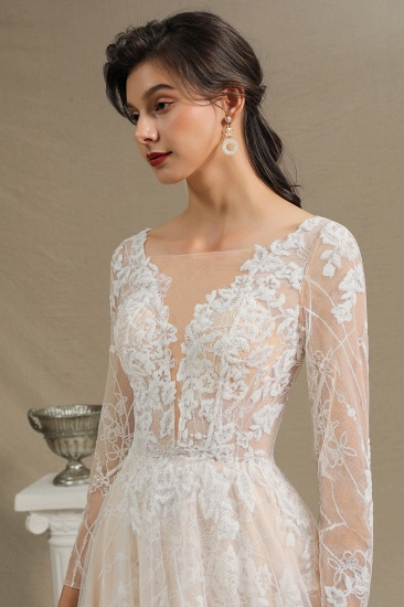 BMbridal Long Sleeves Lace Wedding Dress Online_7