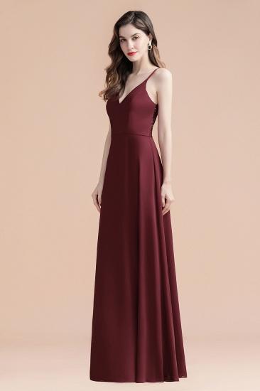 BMbridal Elegant V-Neck Burgundy Chiffon Bridesmaid Dress Lace Sequins Spaghetti Straps Evening Dress_7