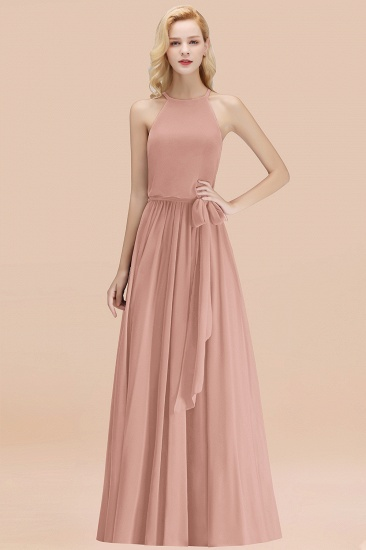 BMbridal Affordable Halter Bow Long Bridesmaid Dress Modest Burgundy Chiffon Wedding Party Dress_6