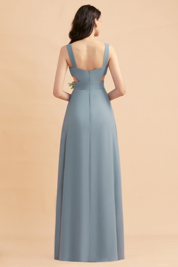 BMbridal A-Line Dusty Blue Chiffon Ruffles Bridesmaid Dress with Slit_52