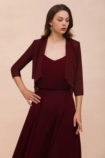 BMbridal Burgundy Chiffon Special Occasion Wraps with Half Sleeves_4