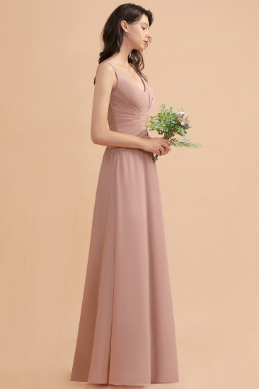 BMbridal V-Neck Dusty Rose Chiffon Bridesmaid Dress with Ruffles_6