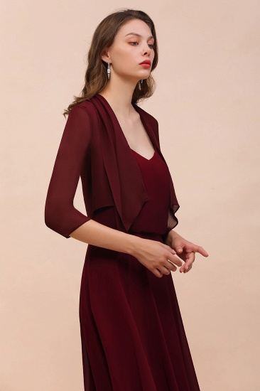 BMbridal Burgundy Chiffon Special Occasion Wraps with Half Sleeves_5