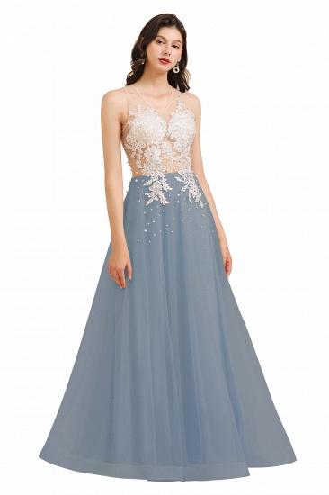 BMbridal Round Neck Lace Appliques Long Evening Prom Dress_5