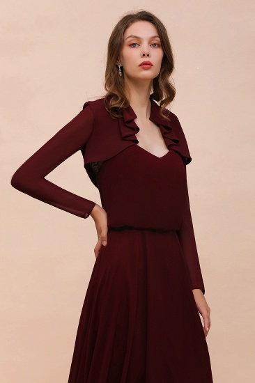 BMbridal Burgundy Chiffon Wraps with Long Sleeves Online_7