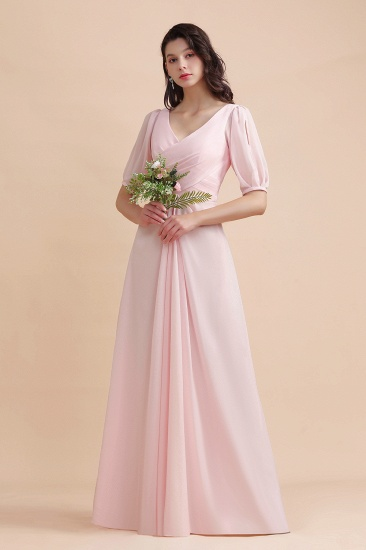 BMbridal A-Line V-Neck Chiffon Ruffles Bridesmaid Dress with Short Sleeves