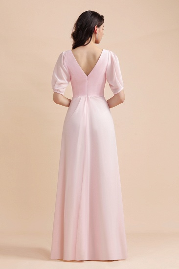 BMbridal A-Line V-Neck Chiffon Ruffles Bridesmaid Dress with Short Sleeves_3