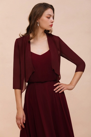 BMbridal Burgundy Chiffon Special Occasion Wraps with Half Sleeves_7