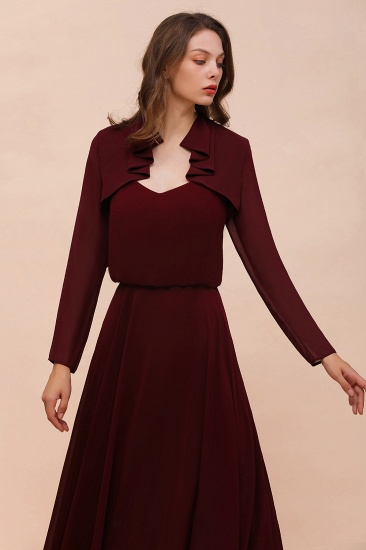 BMbridal Burgundy Chiffon Wraps with Long Sleeves Online_1
