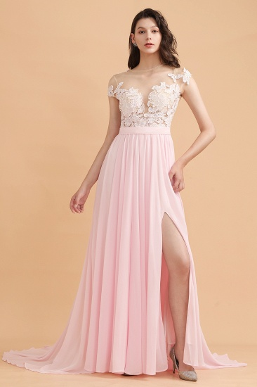 BMbridal A-Line Jewel Chiffon Lace Ruffles Bridesmaid Dress with Slit_4