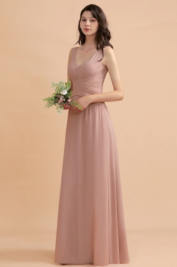 BMbridal V-Neck Dusty Rose Chiffon Bridesmaid Dress with Ruffles_5