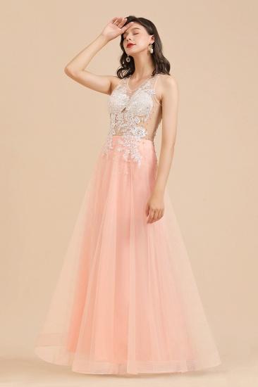 BMbridal Round Neck Lace Appliques Long Evening Prom Dress_10