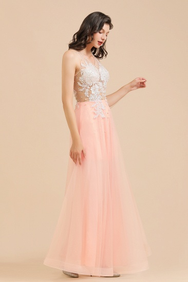 BMbridal Round Neck Lace Appliques Long Evening Prom Dress_9