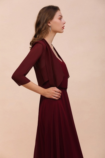 BMbridal Burgundy Chiffon Special Occasion Wraps with Half Sleeves_8