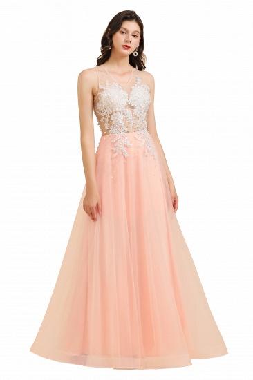 BMbridal Round Neck Lace Appliques Long Evening Prom Dress_1
