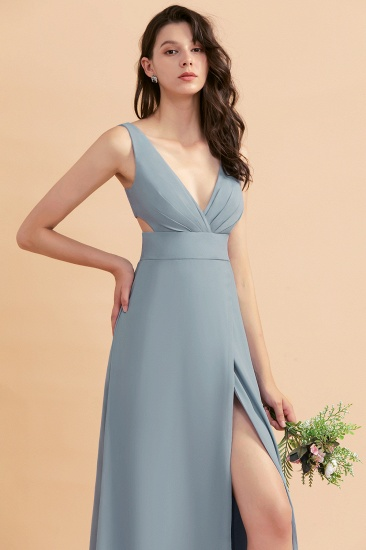 BMbridal A-Line Dusty Blue Chiffon Ruffles Bridesmaid Dress with Slit_58